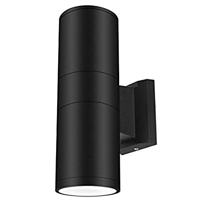 LED Outdoor Wall Sconce Exterior Wall Lamp Up Down Light Cylinder Waterproof IP65, Black Fixture