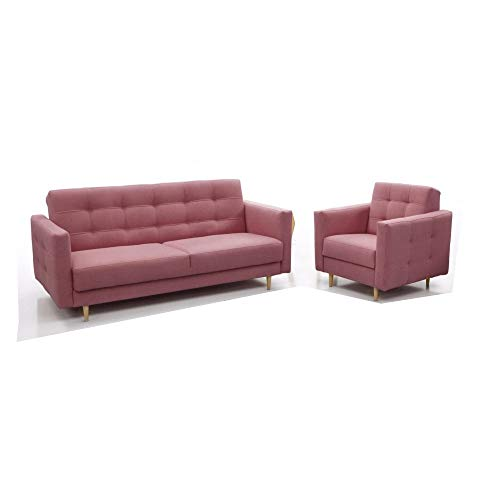 Polstergarnituren Sofa mit Sessel Schlafsofa Kippsofa Sofa mit Schlaffunktion Klappsofa Bettfunktion Couch - Scarlett (Rosa)