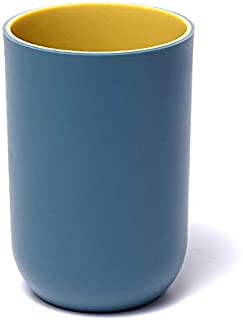 Nrpfell Fashion Simple Pp Plain Plastic Couple Mouthwash Cup for Rinsing Mug Water Tea Drink Cup Dark Blue & Yellow