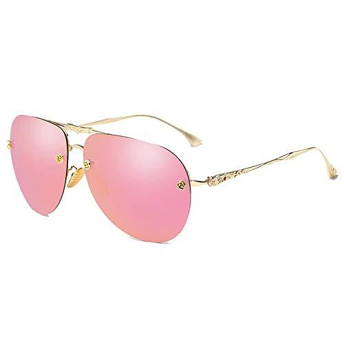 DKEE Gafas de Sol UV400 Gafas De Taladro con Punta Tallada Hombres Y Mujeres Gafas De Sol Espejo De Conducción Espejo Conductor Gafas De Sol Polarizadas (Color : Pink)