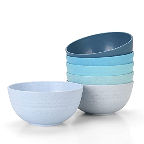 [Set of 6] Unbreakable Cereal Bowls 24 OZ Microwave and Dishwasher Safe BPA Free E-Co Friendly Wheat...