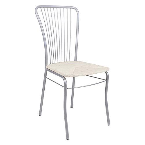 DMORA sedia, cromata con seduta in paglia bianca, cm 54x93x45, UNICA