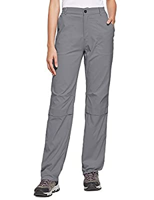 BALEAF Women's Lightweight Hiking Pants Convertible Roll Up UPF 50 Stretch Outdoor Capri Pants Water Resistant Deep Gray M