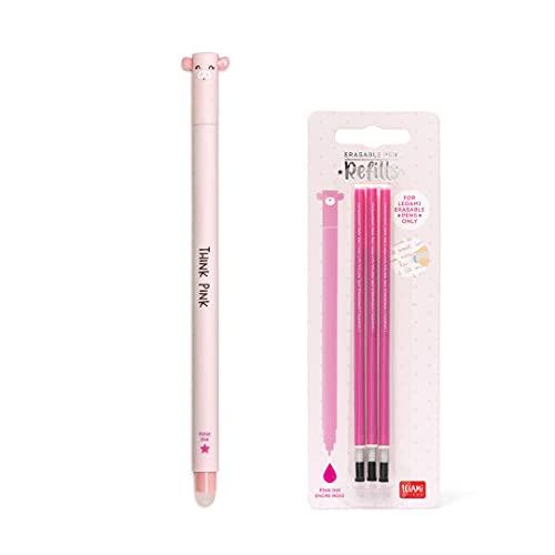 Bolígrafo de gel borrable cerdo de tinta rosa + kit de 3 recambios de recarga rosa Legami para niña