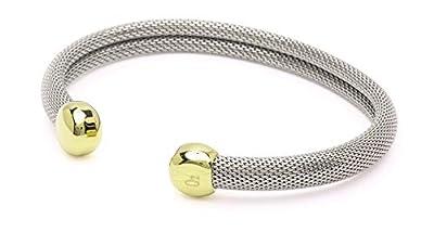 "QRAY Milano Combo Steel Golf Athletic Bracelet Men Women C-Shaped Health Wellness Bracelet (Medium: 7""~7.75"")"