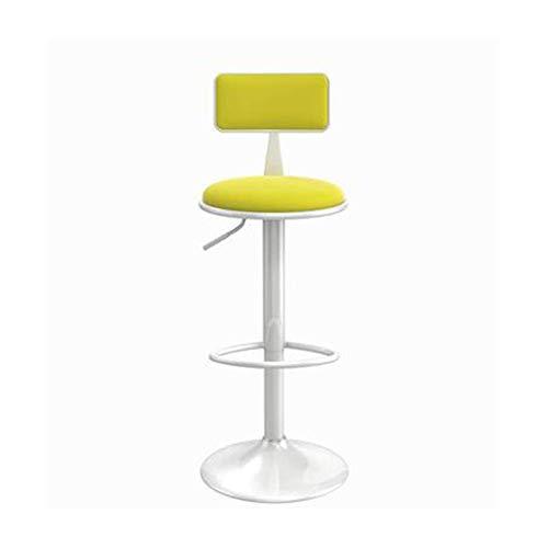 N/Z Tägliche Ausrüstung Barhocker aus Holz Höhenverstellbarer Barhocker Barhocker mit Rückenlehne Küchenhocker 360 & deg;Drehbarer Stuhl Verchromter Stahl Gelb