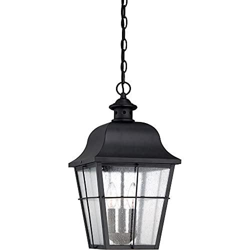 "Quoizel MHE1910K Millhouse Seedy Glass Outdoor Pendant Ceiling Lighting, 3-Light, 180 Watts, Mystic Black (19""H x 10""W)"