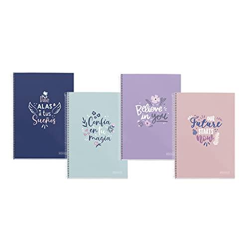 Miquelrius Pack 4 Cuadernos tamaño folio (80 hojas) con cuadrícula y margen - Portada cartón extrarígido con frases