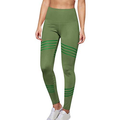 iZZB Pantalon de Yoga Solide Taille Haute Femme,Leggings Élasticité Contrôle Abdominal Hanche de Sport,Casual La Mode Le Sports pour Filles 2019 (Vert, XL)