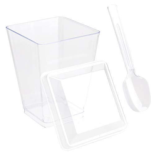 Tosnail 50 Pack 5 Oz Tall Square Clear Plastic Dessert Tumbler Cups with 50 Pieces Plastic Lids and 50 Pieces Plastic Tasting Spoons Clear