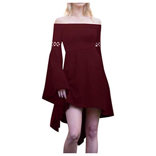 HEVÜY Damen Mittelalter Kleid Kaftan Langarm Kleidung Boho Kleider Lange Größe Maxikleid