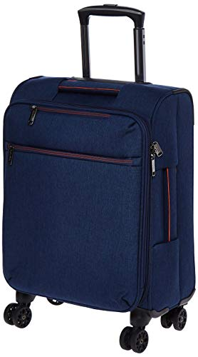 AmazonBasics Belltown, Softside Expandable Luggage Spinner Suitcase with Wheels, 21 Inch, Navy