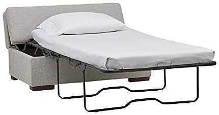 Marca Amazon -Rivet Fold - Otomana y sofá cama, 122 cm de ancho (gris claro)