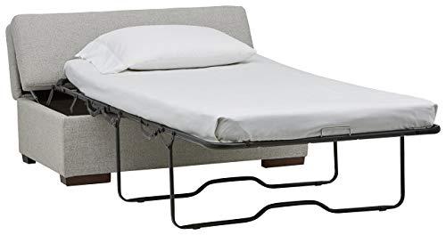 Rivet Fold Moderner Sitzhocker mit ausklappbarem Bett, B 122cm, Hellgrau