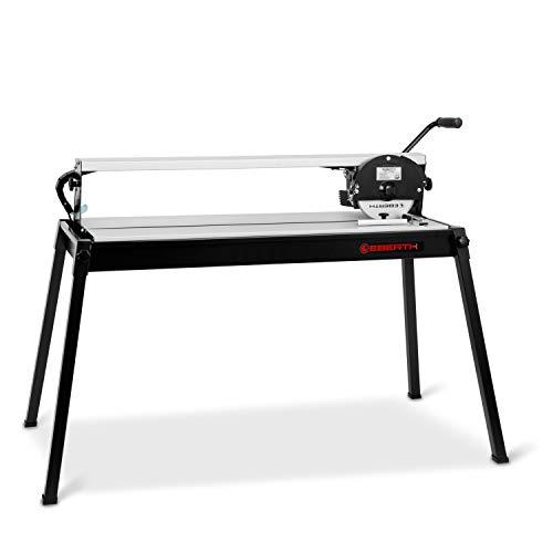 EBERTH 900 mm elektrische Fliesenschneidemaschine mit Laser (stufenlos schwenkbar bis 45°, 25 mm Schnitttiefe, Winkelanschlag, Diamanttrennscheibe)
