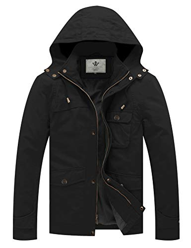 WenVen Men's Military Jacket Spring Cotton Casual Coat Windbreaker(Black, L)