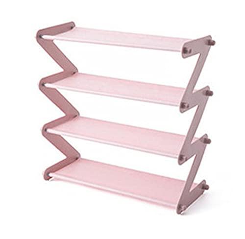 YANGYANG Allenzhang - Estante de almacenamiento de acero inoxidable para zapatos, para libros, libros, dormitorios, dormitorios, en forma de Z, organizador de zapatos (color: rosa 4 larer)