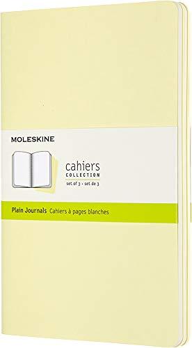 Moleskine Cahier Journal (3er Set Notizbücher mit blanko Seiten, Kartoneinband und Baumwollstickerei, Large 13 x 21 cm, 80 Seiten), Sanftgelb