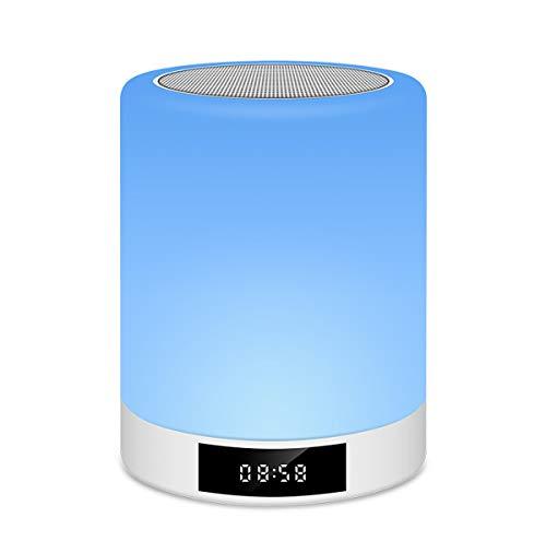 KK Zachary Altavoz Bluetooth Ree Lámpara táctil Inteligente Despertador de la música llevó la lámpara de Escritorio de Audio con Pantalla de Despertador Ambiente de la lámpara