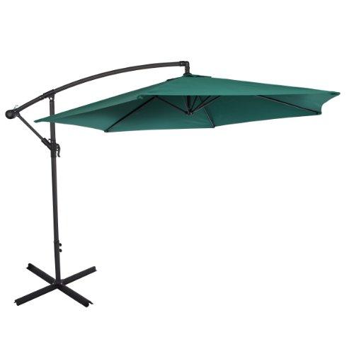 Ultranatura Ombrellone della serie Bahamas – ombrellone a manovella, in sospensione, si può usare come ombrellone da balcone, da giardino, da terrazzo, Verde