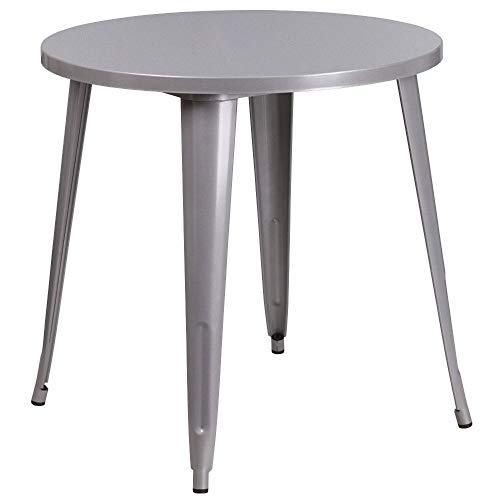 Flash Furniture 30'' Round Silver Metal Indoor-Outdoor Table