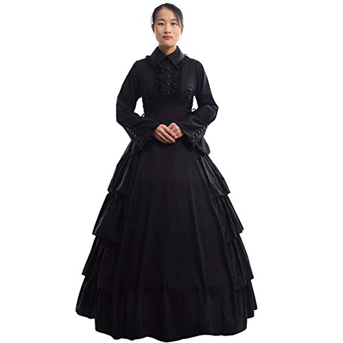 GRACEART Damen Gothic Viktorianisches Kleid Renaissance Maxi Kostüm, Black, XXL