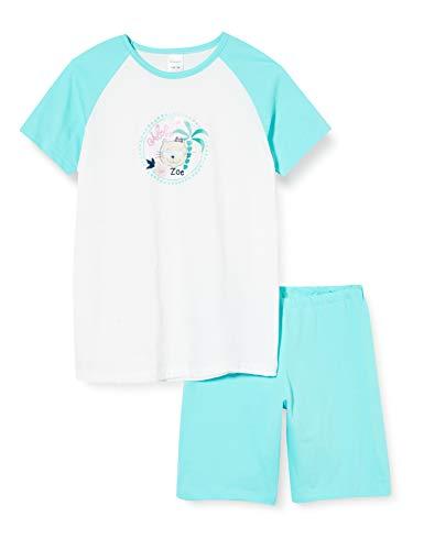 Schiesser Mädchen Cat Zoe Md kurz Zweiteiliger Schlafanzug, Weiß (Weiss 100), (Herstellergröße: 140)