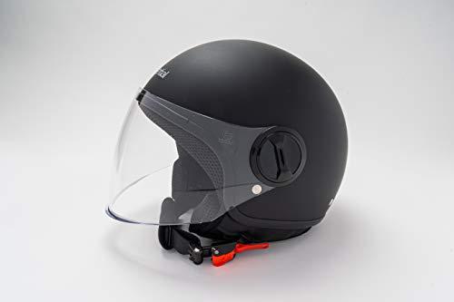 EXSENTIAL Demi Jet EX 631 VL - Casco negro mate mate con casco para scooter o moto, talla L