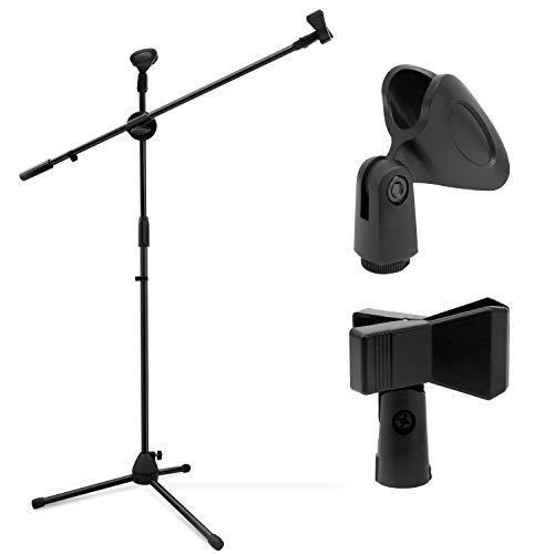 Outletissimo Supporto Asta per Microfono Professionale Regolabile Pieghevole base Tripode 70-150cm