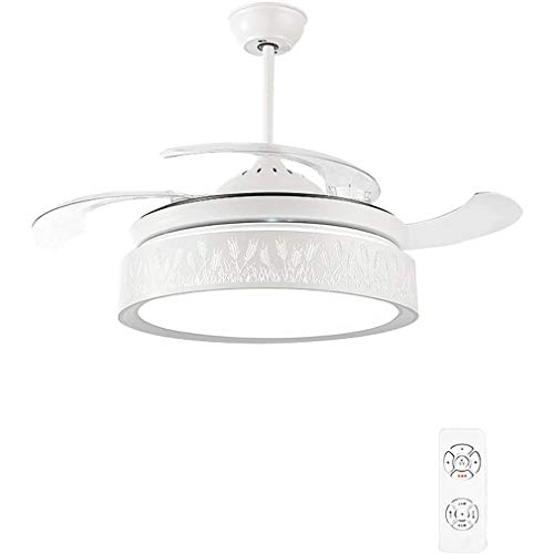 QIYUE Fan Light Ceiling Fan-Kroonluchter-Bluetooth kleine luidspreker 3 in 1 Geïntegreerde Plafond Light 42 Inch dimbare LED-plafond licht Retractable Invisible Blade salon eetkamer, White