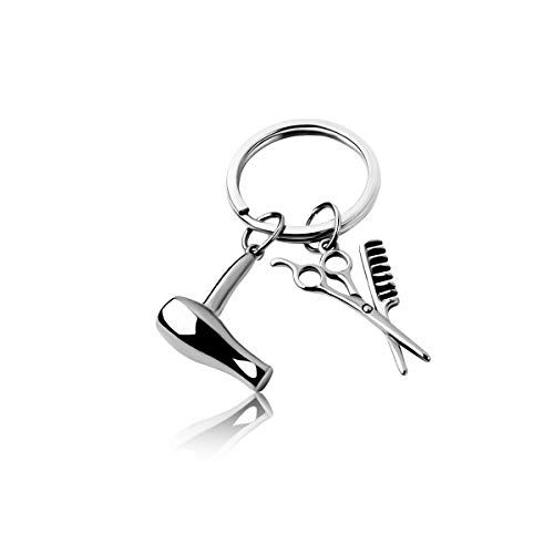 RUNXINTD Hairstylist Gift Hair Dryer Necklace Gift for Him or For Cosmetology Graduate Gift (KeyChain-Hairstylist+HairDryer)