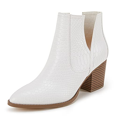 FISACE Womens V Cut Out Ankle Boot Pointed Toe Snakeskin Chunky Stacked Mid Heel Booties