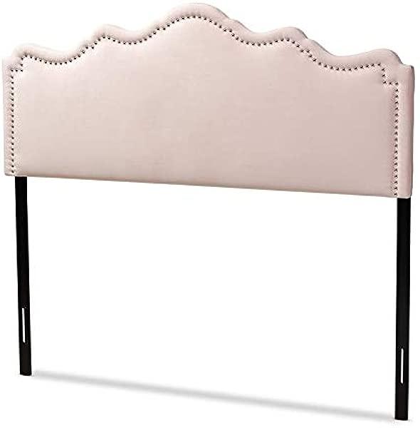Baxton Studio Nadeen Light Pink Velvet Fabric Queen Size Headboard
