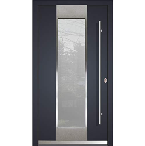 Haustür Welthaus WH75 RC2 Premiumtür Aluminium mit Kunststoff LA123 Tür 1000x2100mm DIN Rechts Farbe aussen Anthrazit Innen weiß außengriff BGR1600 innendrucker M45 Zylinder 5 Schlüßel