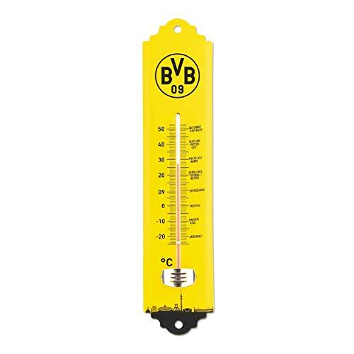 Borussia Dortmund thermometer voor binnen en buiten, wandthermometer BVB 09 - Plus bladwijzer I Love Dortmund