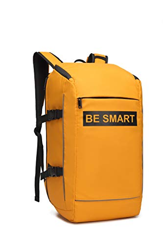 Large Sport Travel Backpack Business Anti Theft Laptop Computer Bag fits 17 inches Durable Waterproof Backpack Schoobags bookbags for College Student Gift BE SMART Brand for Camping Hiking Men-Yellow