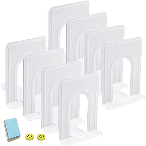 Qualsen 4 Paires Serre-Livres en métal pour étagères, Bureau, Maison, école, dortoir, Blanc, 17 x 12 x 15 cm