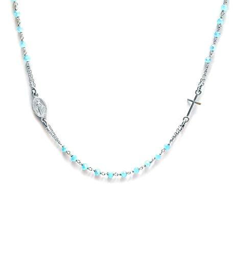 Collana donna rosario in Argento 925 e pietre AZZURRE - Linea Italia gioielli Made in Italy