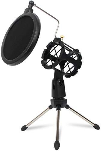 Depusheng Trípode de escritorio con soporte de condensador de estudio ajustable para soporte de micrófono con cubierta de filtro de parabrisas