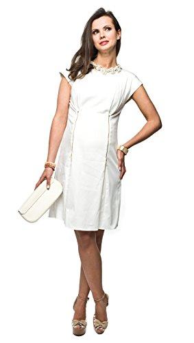 Elegantes Umstandskleid, Abendkleid, Brautkleid, Hochzeitskleid für Schwangere, Modell: Mirabel, Creme, XL