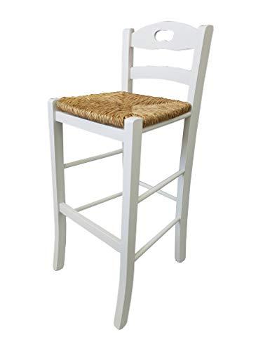 Totò Piccinni Sgabello Legno Sedia Snack Alto 67 cm con Schienale, Poggia Piedi, qualità (Bianco, Seduta Paglia)