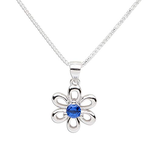 Girls Sterling Silver Daisy Simulated September Birthstone Necklace for Children