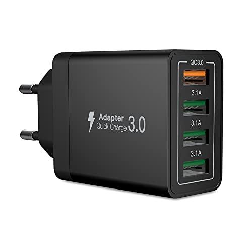 USB Ladegerät, 33W QC 3.0 USB Netzteil High-Speed ladeadapter, 4 Port Schnellladegerät Mehrfach USB ladestecker für Samsung Galaxy A51 A50 S21 S20 S10 S9 S8,iPhone 13 12 11 Pro XR X,Huawei P30 P20