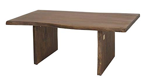 Table basse 120x70cm - Bois massif d'acacia laqué (Brun classique) - Design naturel - PURE EDGE #005