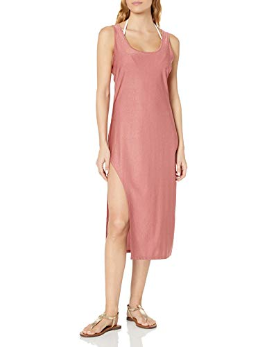 Kenneth Cole New York Women's Asymmetrical Tank Dress Swimsuit Cover Up, Rose//Day Glow, M