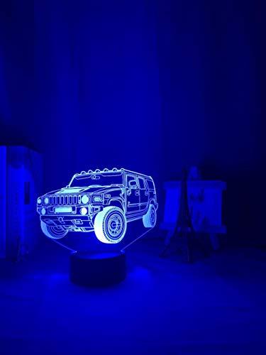 Luz nocturna 3D Anime 3D ilusión nocturna LED para coche, sensor táctil de color, decoración para el coche, acrílico, regalo de cumpleaños para niños