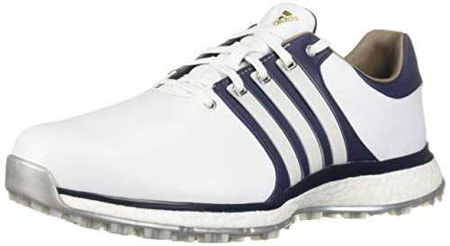 adidas Men's TOUR360 XT Spikeless Golf Shoe, FTWR White/Collegiate Navy/Silver Metallic, 12 M US