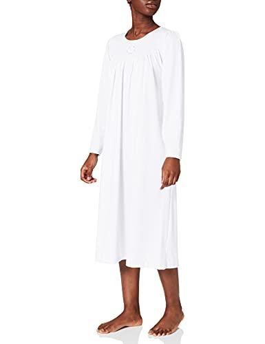 Calida - Camicia da notte manica lunga con classico taglio raglan in cotone interlock. Lunghezza 110 cm, 3/S, BIANCO
