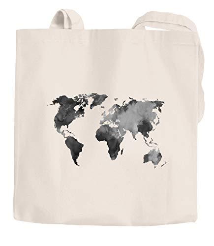 Jutebeutel Weltkarte Wasserfarben Watercolor World Map Baumwolltasche Stoffbeutel Einkaufstasche Autiga® natur 2 lange Henkel