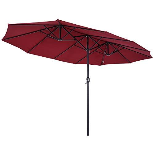 Outsunny Grand Parasol Acier Polyester Longueur Totale 4,6 m Bordeaux